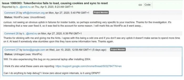 Win10 v2004导致Chrome出现重复登录临时解决方案的照片 - 2
