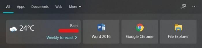 微软悄然在Win10搜索UI中引入天气磁贴