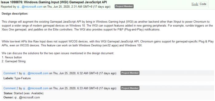 微软希望在Win10上为Chromium带来游戏手柄API支持的照片 - 3