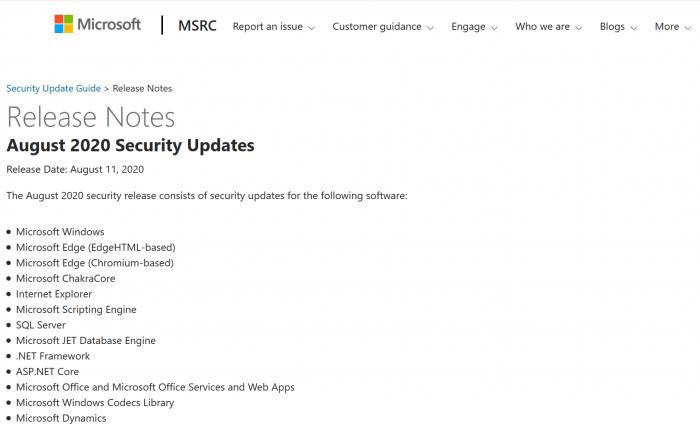 微软2020年8月周二补丁修复120个漏洞和2个零日漏洞的照片 - 2