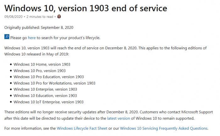 Win10 Version 1903将于12月8日停止支持的照片 - 2