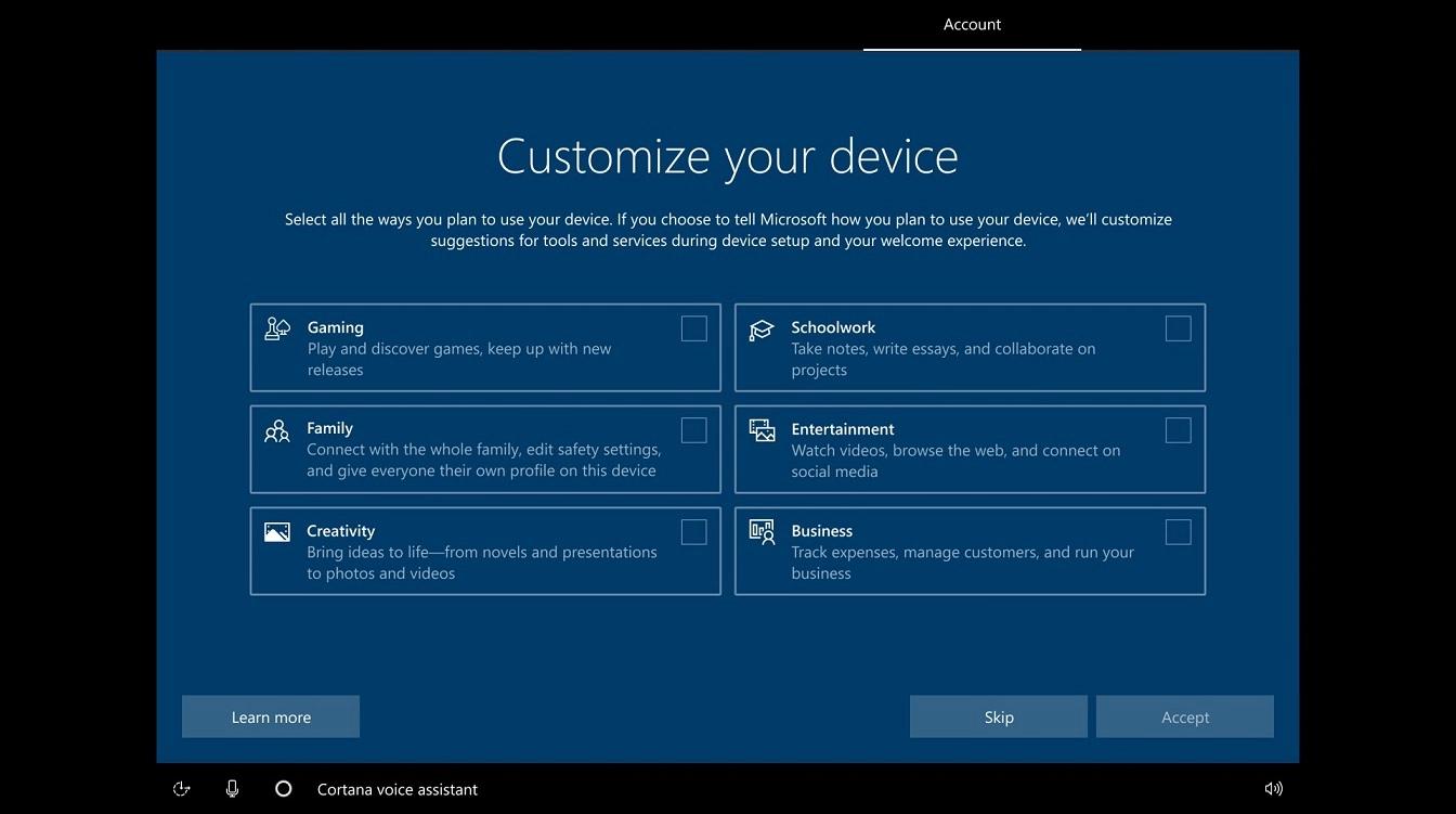 微软Win10的OOBE开箱体验屏幕将迎来改进的照片