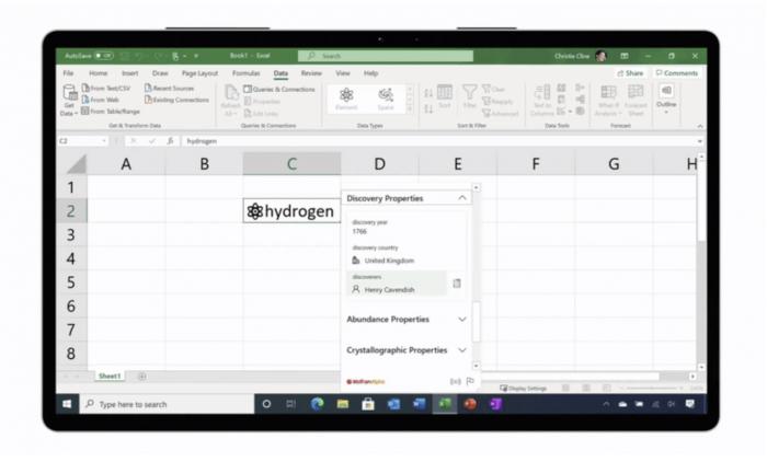 微软对Excel进行了全面的改革 推出了实时自定义数据类型的照片 - 2