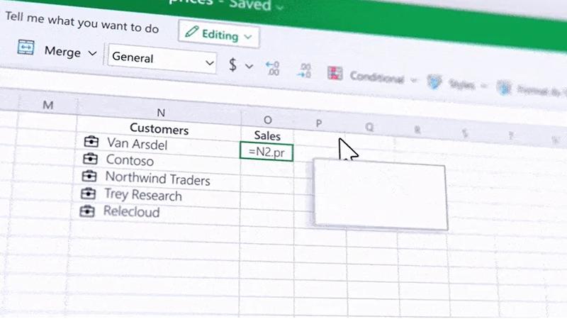 微软对Excel进行了全面的改革 推出了实时自定义数据类型