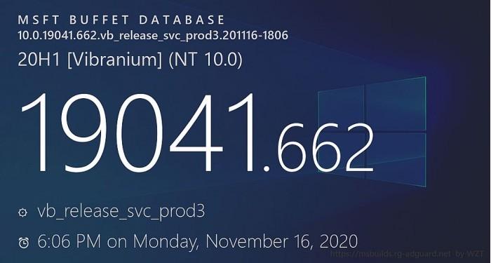 微软测试Win10 20H2更新 版本号升至Build 19042.662