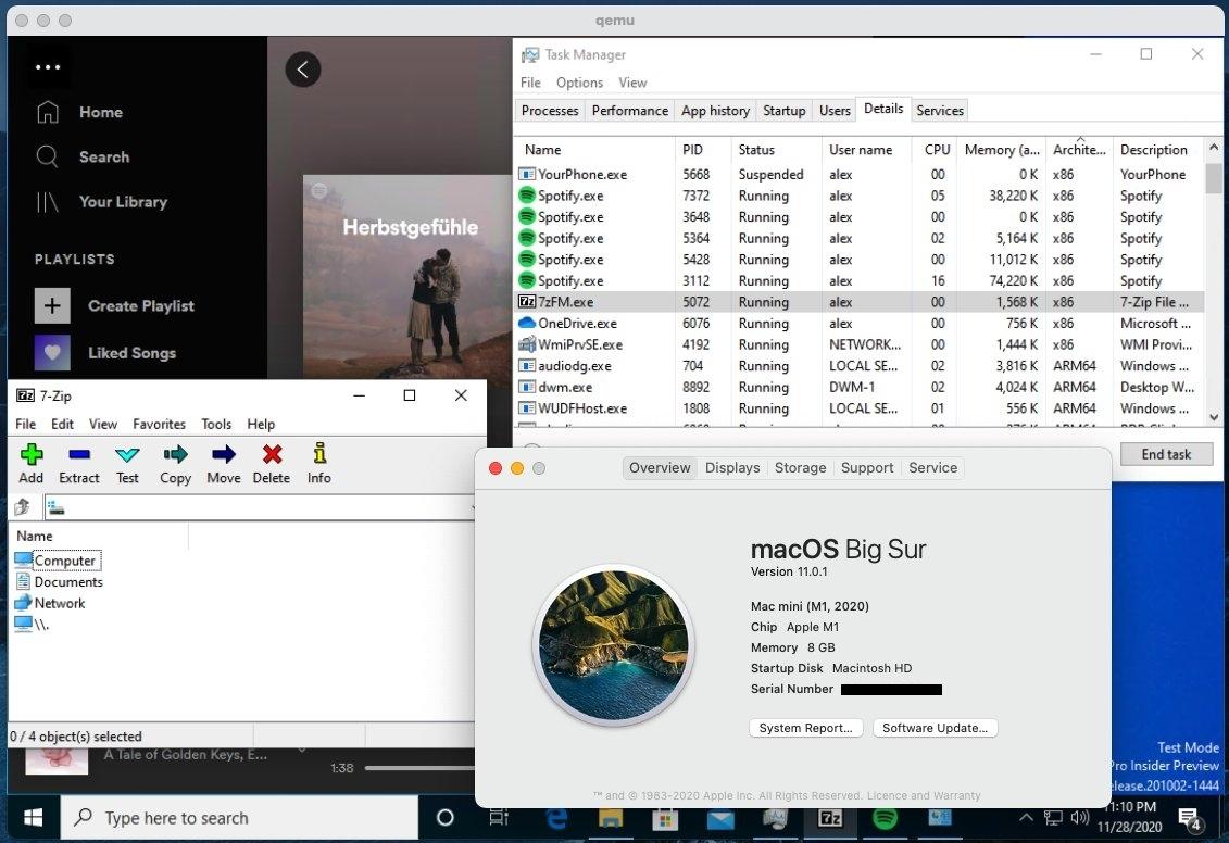 M1 Mac成功安装Win10:网卡声卡已正常 多款x86软件稳定运行的照片 - 2