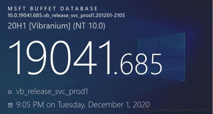 今年最后一次累积更新发布 Win10版本号升至Build 19041.685的照片