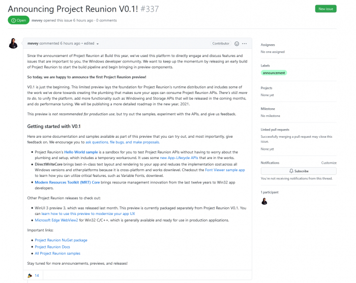微软Reunion首个0.1.0预览版发布 整合统一Win32和UWP API的照片 - 2