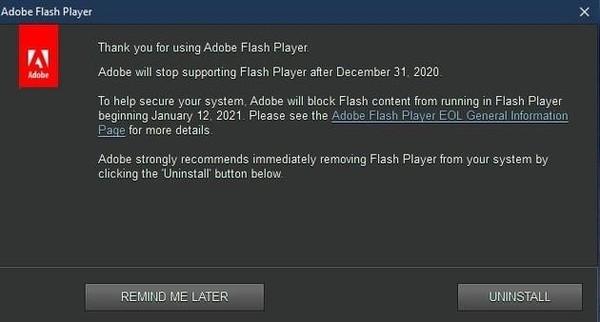 Win10将永久删除Flash Player:Adobe确认明年1月12日终结的照片 - 2