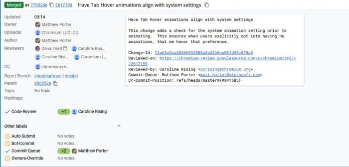 微软新提案:Edge标签页预览动画跟随系统设置的照片 - 2