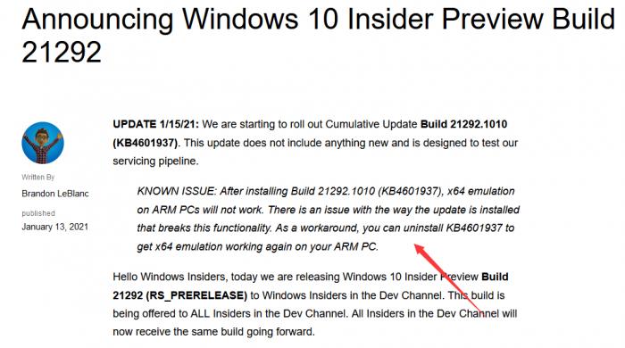 升级到Win10 Build 21292会导致ARM PC x64仿真功能失效的照片 - 2