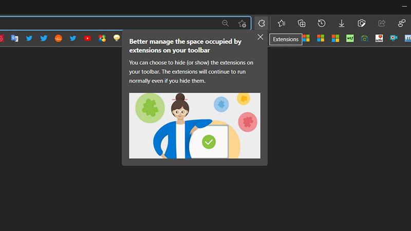 如何启用Microsoft Edge浏览器的新式扩展菜单的照片 - 1