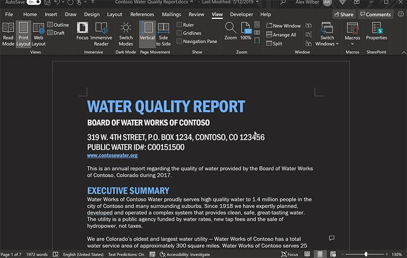 微软Word的黑暗模式迎来进一步升级 黑得更加纯粹