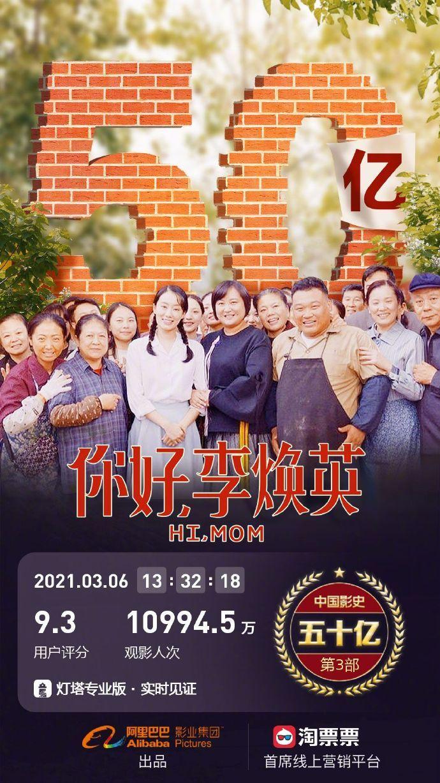 《你好李焕英》票房超50亿 将超越《哪吒》成影史第二的照片 - 2