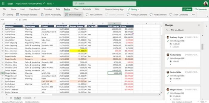网页端Excel新功能:追踪过去60天同事对工作簿的所有更改的照片 - 2