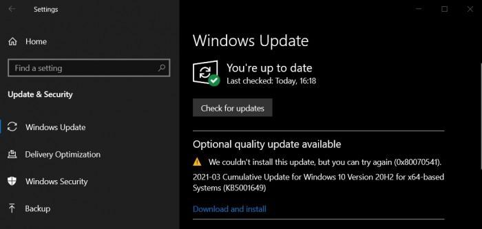 Win10用户有遭遇KB5001649安装失败 错误码0x80070541的照片 - 2