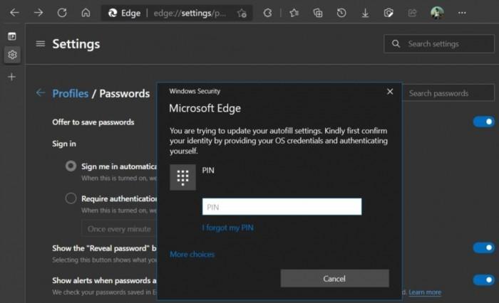 Microsoft Edge安全新特性:自动填充密码前可进行强制认证的照片 - 2
