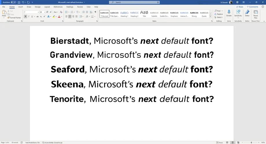 微软正计划i改变默认的Office字体 并希望你帮着挑选一个新的字体的照片 - 4