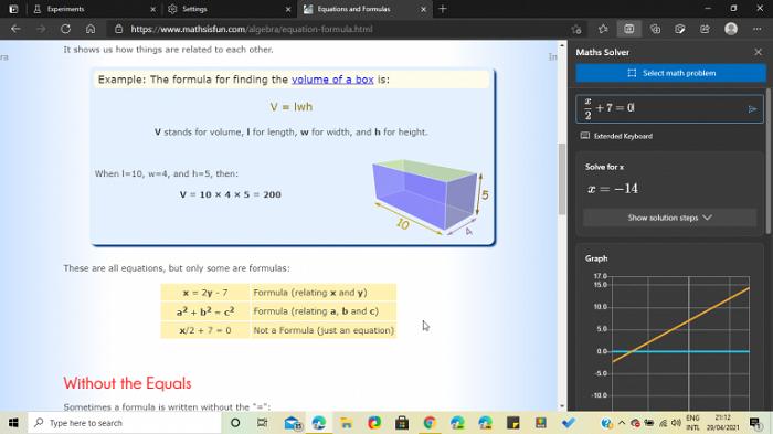 微软为Edge稳定版带来数学求解器 可在实验性标记中手动启用
