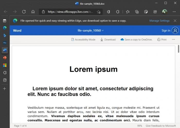 Microsoft Edge浏览器中的Office Viewer功能首次出现的照片 - 4
