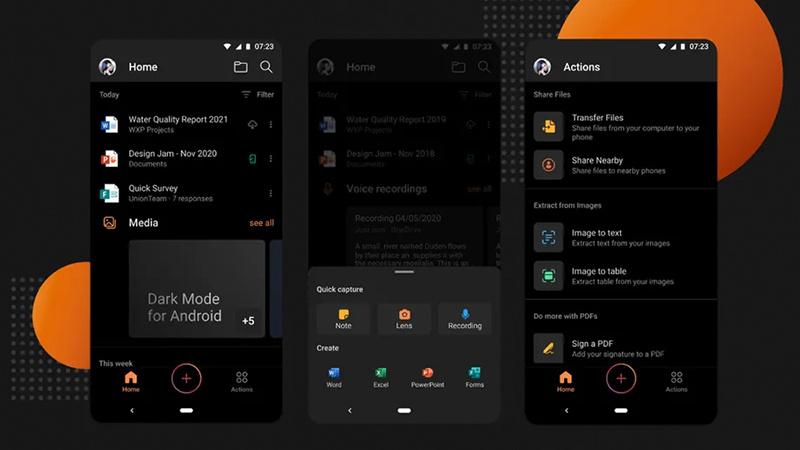 微软Android版Office终于有了黑暗模式的照片