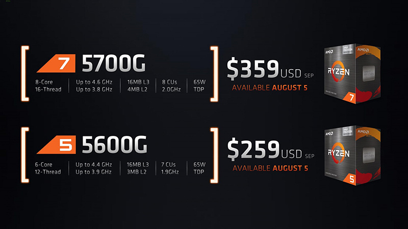 AMD发布锐龙7 5700G、锐龙5 5600G零售版APU:8月开卖