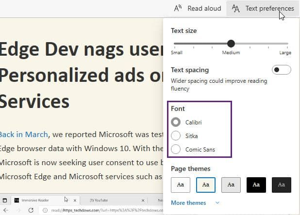 Edge优化沉浸阅读器:可自动进入 新增三种字体的照片 - 4