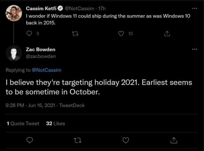 Windows 11稳定版何时发布?定在今年假期 最早十月的照片 - 2