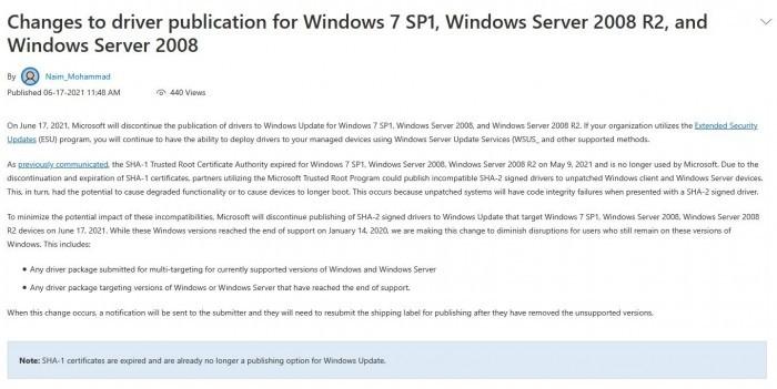 今天开始:Win7将无法通过Windows Update下载驱动程序