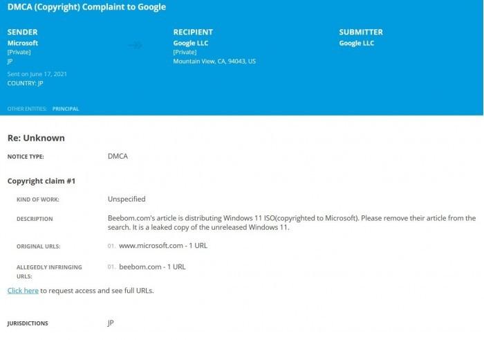 微软向托管Win11泄露ISO镜像的网站发出DMCA版权撤除通知的照片 - 4
