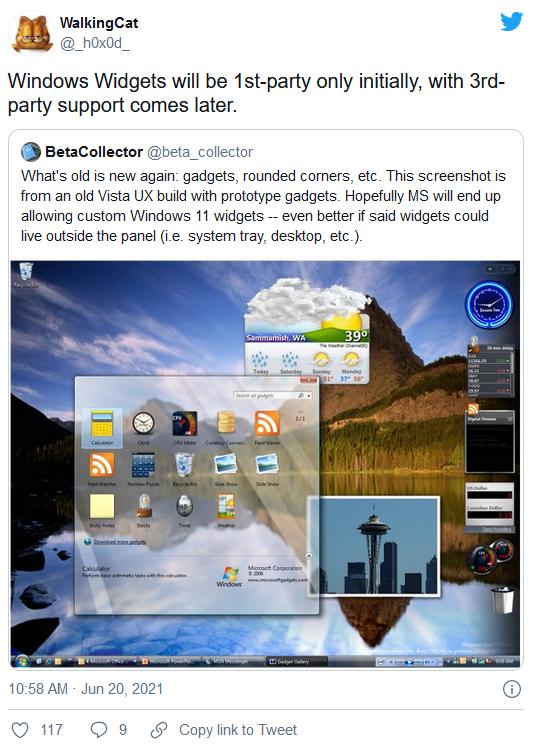 消息称第三方开发的桌面小工具最终会重新被Win11支持