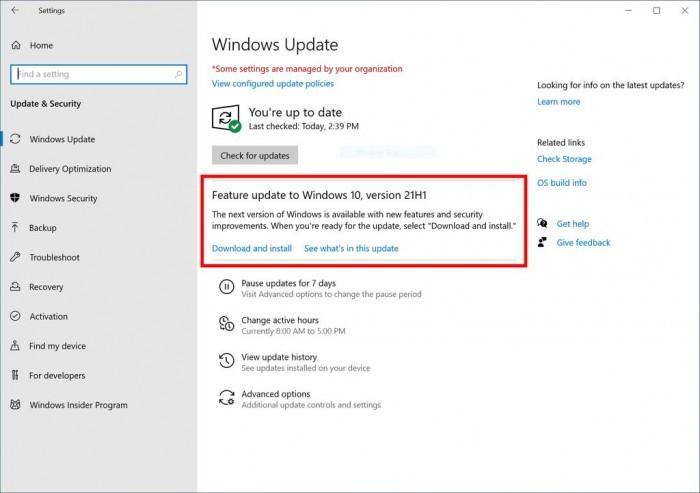 Win10 21H1状态页更新:正扩大自动升级的PC规模的照片 - 2