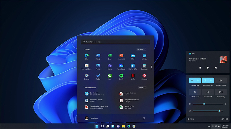 Windows 11带来了全新的操作中心和媒体控件的照片 - 1
