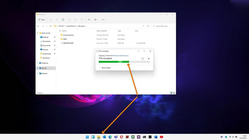 Win11为任务栏图标引入新的文件传输进度指示器
