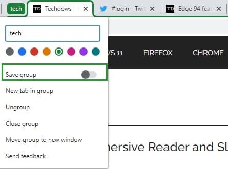 Google Chrome浏览器增加了保存标签组的选项的照片 - 2
