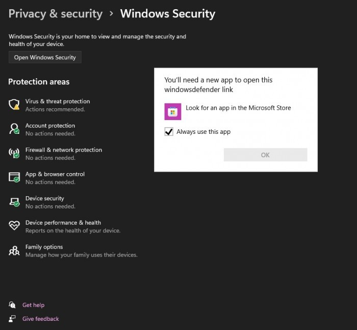 Win11的错误破坏了Windows内置安全应用 但可手动修复