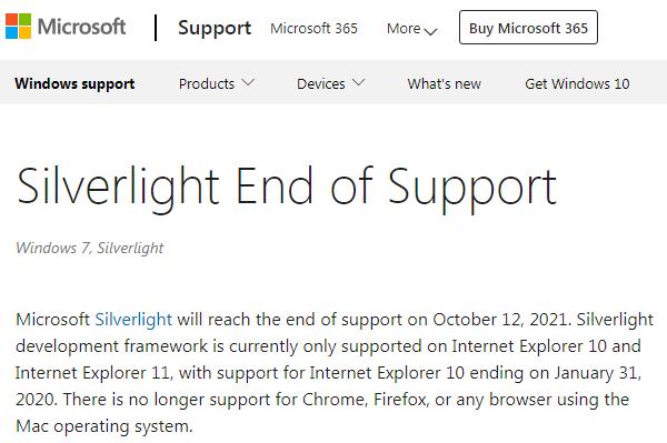 微软将于10月12日终止对Silverlight的支持的照片 - 2