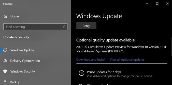 Windows 10 KB5005611 (21H1)发布 包含一连串错误修复