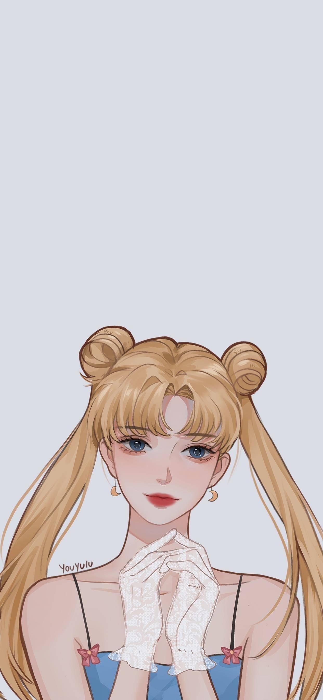 甜美少女手绘美图手机壁纸