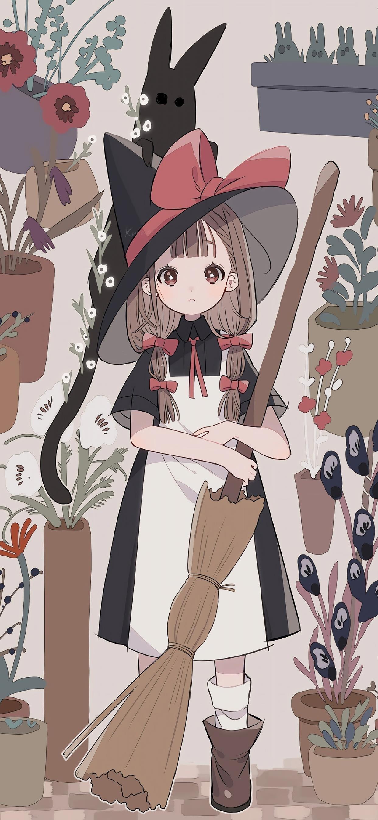 魔法少女可爱插画手机壁纸