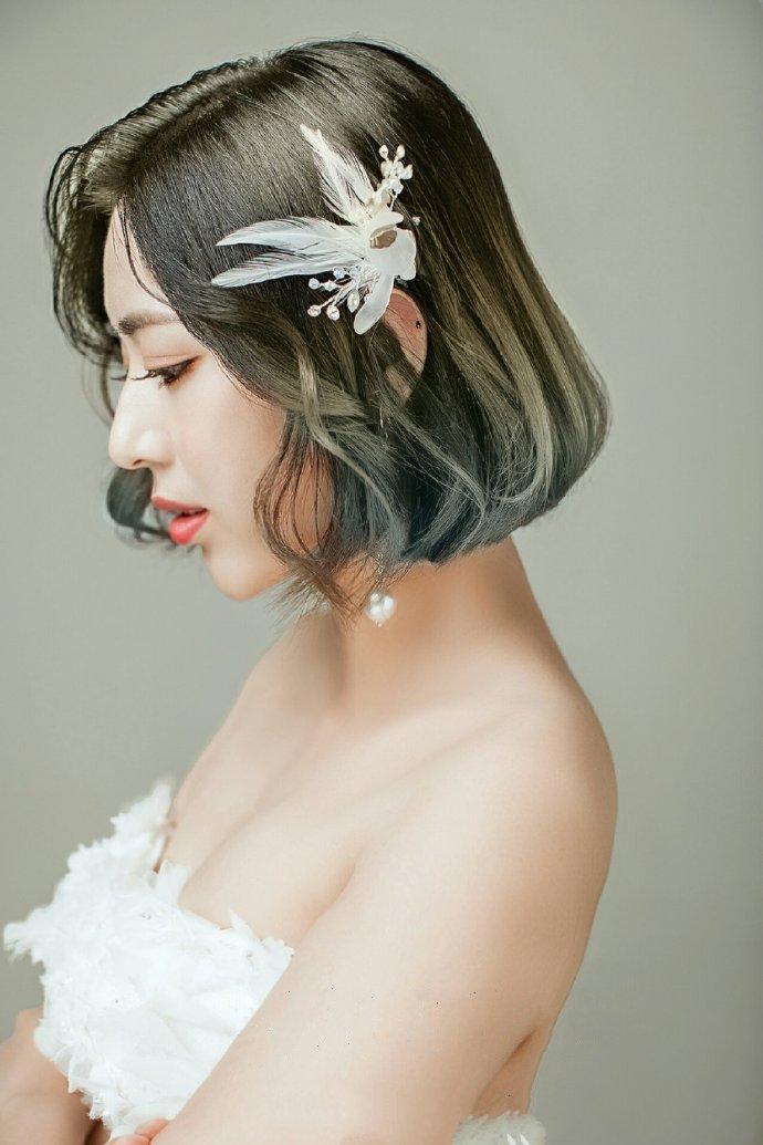 唯美新娘发型最新微卷短发图片