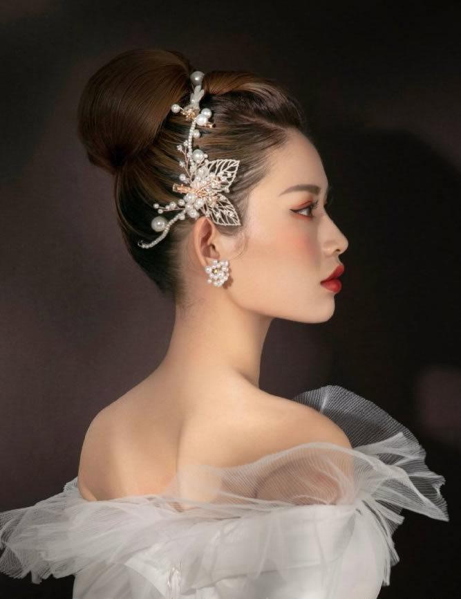中长发新娘发型高盘丸子头图片
