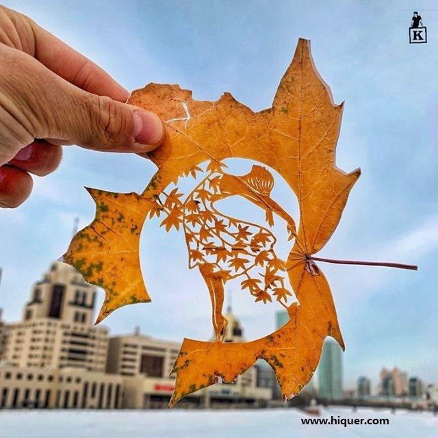 《超精美落叶艺术》艺术家Kanat Nurtazin栩栩如生的作品赋予树叶第二次生命! 趣事儿 第1张