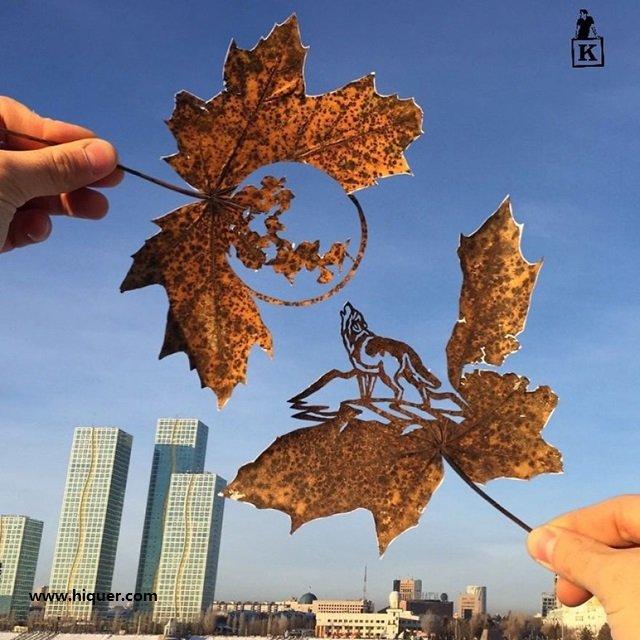 《超精美落叶艺术》艺术家Kanat Nurtazin栩栩如生的作品赋予树叶第二次生命! 趣事儿 第3张