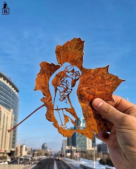 《超精美落叶艺术》艺术家Kanat Nurtazin栩栩如生的作品赋予树叶第二次生命! 趣事儿 第8张