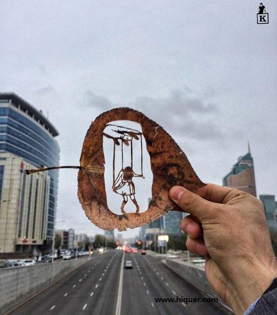 《超精美落叶艺术》艺术家Kanat Nurtazin栩栩如生的作品赋予树叶第二次生命! 趣事儿 第9张