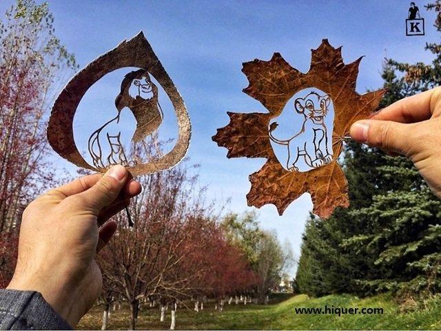 《超精美落叶艺术》艺术家Kanat Nurtazin栩栩如生的作品赋予树叶第二次生命! 趣事儿 第13张