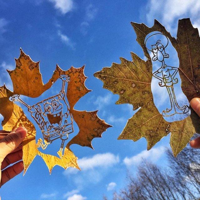 《超精美落叶艺术》艺术家Kanat Nurtazin栩栩如生的作品赋予树叶第二次生命! 趣事儿 第14张