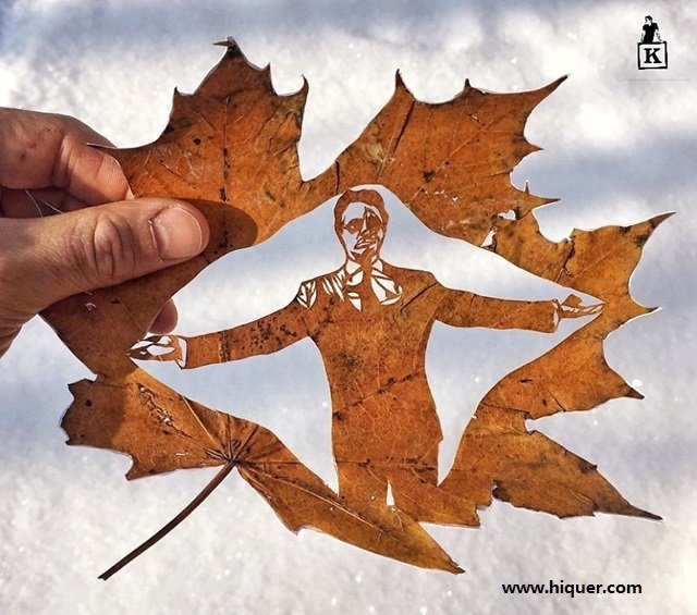 《超精美落叶艺术》艺术家Kanat Nurtazin栩栩如生的作品赋予树叶第二次生命! 趣事儿 第18张