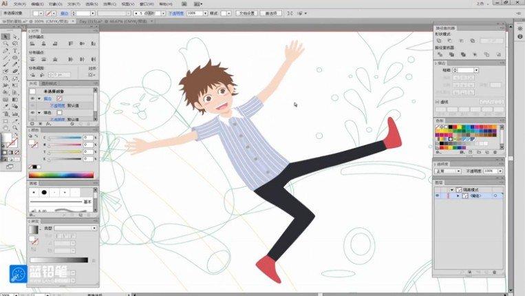 蓝铅笔:插画漫画初级入门视频课程 人物原画入门教程